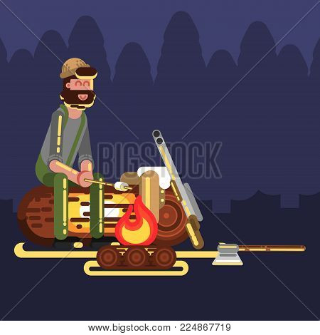 Hunter near fire. Hunters isolated on color background. Hunters vector icon illustration.