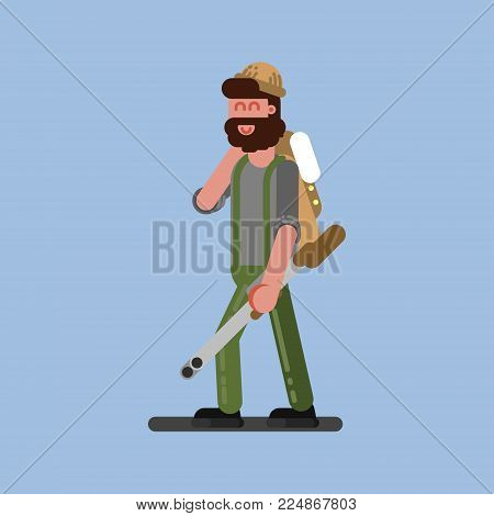 Hunter walking with gun and jacket. Hunters isolated on color background. Hunters vector icon illustration.