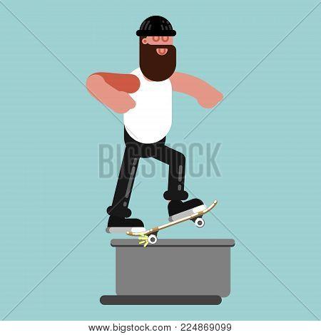 Skater doing backgrind. Excellent Vector illustration EPS 10