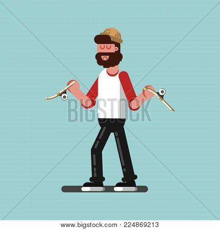 Skater have a board broken. Excellent Vector illustration EPS 10