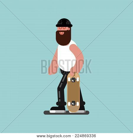 Skater walking with board in hand. Vector illustration EPS 10