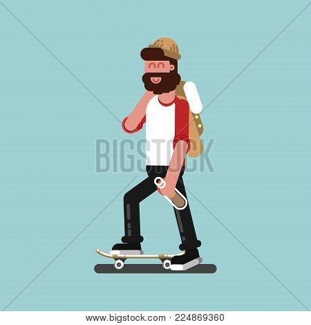 Skater with alcohol skating. Vector illustration, EPS 10