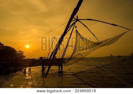 Beautiful Sunset Scene Of Kochi Chinese Fishnets Kerala. Fort Kochin Kochi Kerala South India