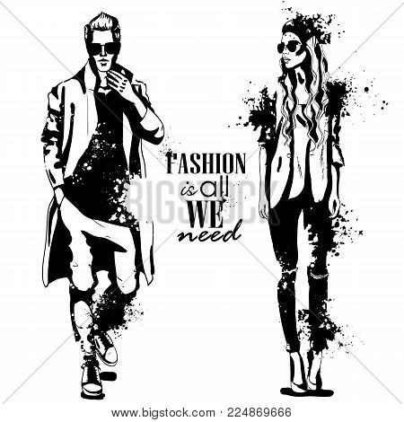 Vector woman and man fashion models with sunglasses, autumn outfit, splash stile. Fashion is all we need