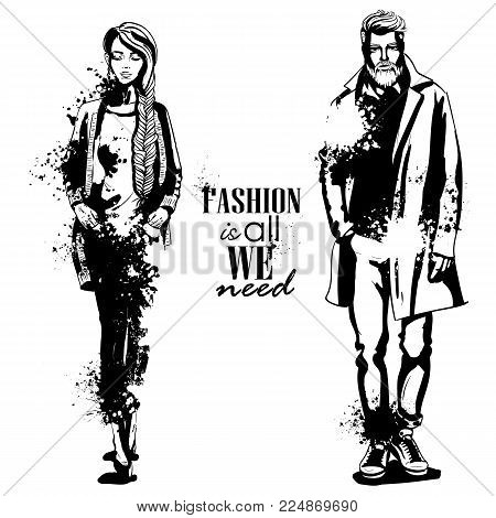 Vector woman and man fashion models, autumn collection, stylish outfit, splash stile. Fashion is all we need