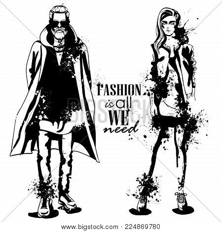 Vector woman and man models dressed in hipster style, outfit, splash stile. Fashion is all we need