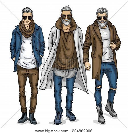 Vector man models with sunglasses, sketch, autumn outfit