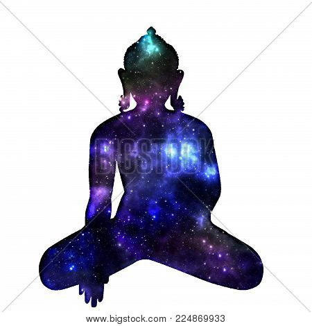 Silhouette Of Sitting Buddha With Space And Stars Isolated On White Background. The Symbol Of Hindui