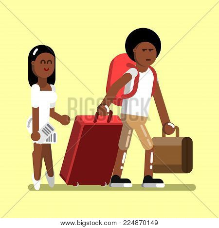 Young afro american couple at airport. Vector illustration, EPS 10