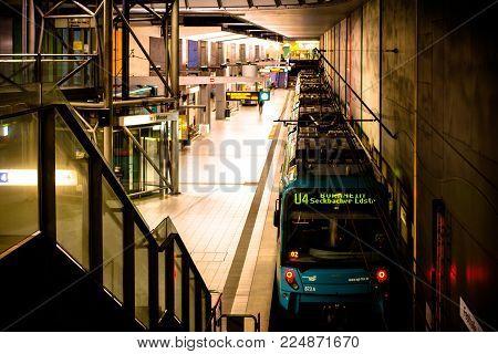 Frankfurt Am Main, Germany - January 25 2018: An Underground Metro Train At Night In Frankfurt Messe
