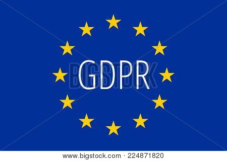GDPR text inside the flag of European union. Regulation and protection of personal data. EPS10 vector.