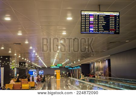 Bangalore, India - January 19 2018 : International Departure Gate In Kempegowda International Airpor