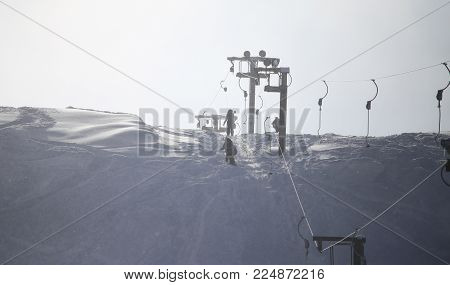 cableway in the mountains of Kazakhstan . In the park in nature