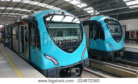 Kochi, India - January 11 2018 : Metro train arriving at a station in Kochi, India