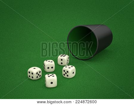 Dice game with dice cup on green table. Combination of dice - Small Straight, four sequential dice. 3D rendering