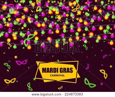 Mardi Gras carnival background with light lamps garlands. Stock vector illustration.