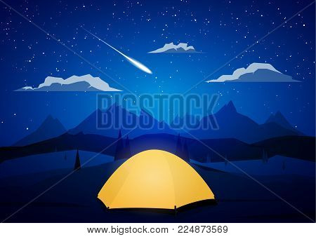 Vector illustration: Night Mountains landscape with tents camp and meteor.