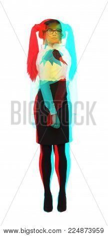 Young uncertain woman cannot decide the right way multiple exposure style, isolated on white