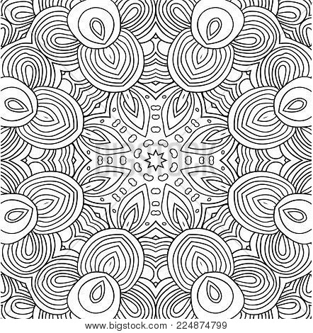 Uncolored vector lines pattern with floral motives