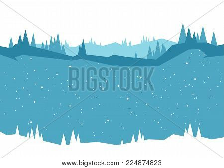 Vector illustration: Winter Woodland hillside background with pines