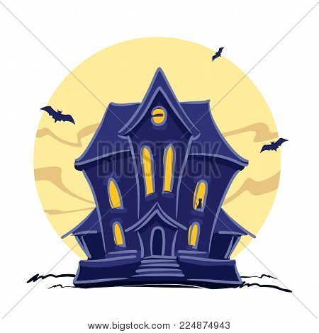 Vector illustration: Haunted witch house with cat in the window and hand lettering of Halloween isolated on full moon background.