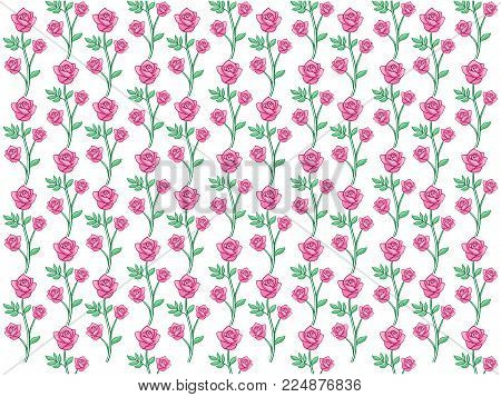Vector Design Of Rose Seamless Pattern Background