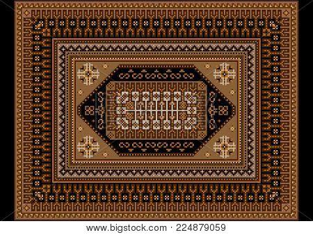 Original luxurious bright vintage oriental rug with beige and brown shades