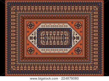 Original luxurious bright vintage oriental rug with orange,blue and brown shades