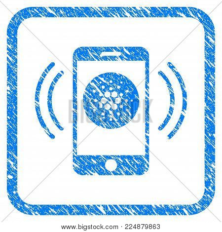 Cardano Mobile Banking rubber seal stamp watermark. Icon vector symbol with grunge design and dust texture in rounded frame. Scratched blue sign on a white background.