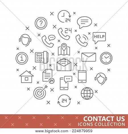 Collection of contact us thin line icons. Vector eps10
