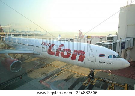 Donmuang International Airport, BANGKOK, Thailand - 17 January 2018 : Prepare flight before takeoff to destination in the morning of Thai Lion Air Airbus A330-300 Reg.