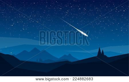 Vector illustration: Night mountains landscape with stars and meteor.