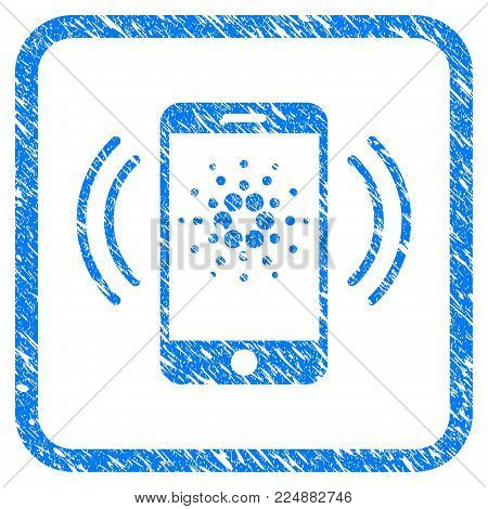 Cardano Mobile Banking rubber seal stamp watermark. Icon vector symbol with grunge design and dirty texture inside rounded rectangle. Scratched blue emblem on a white background.