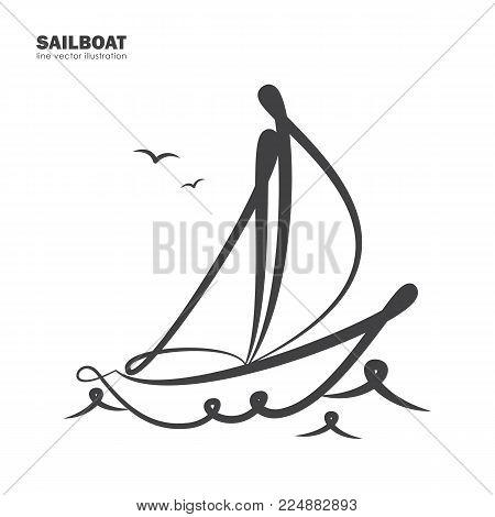 Vector illustration: Isolated sailboat on white background. Line design.