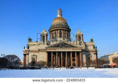 Saint Isaac's Cathedral Scenic Winter View in St.Petersburg, Russia. Second Largest Russian City Famous Travel Landmark, Popular European Tourist Destination, Attracts Many Tourists Every Year.