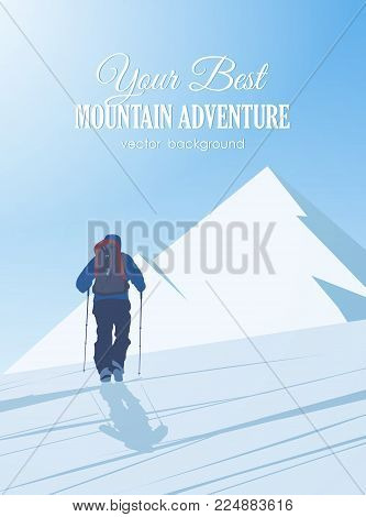Vector illustration: Winter climbing to the peak of the mountain. Climber with backpack