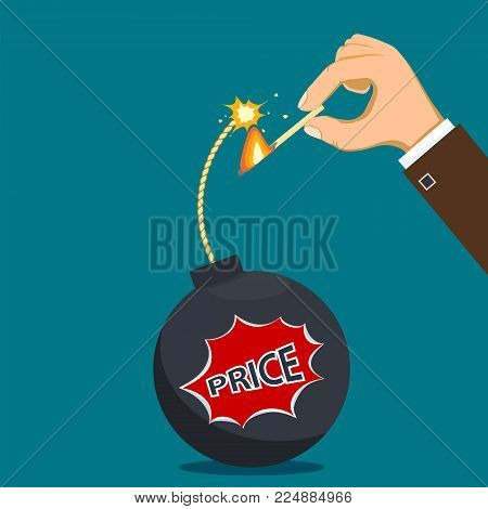 Human Hand Set Fire The Wick Of A Bomb. Discount And Sale. Stock Vector Flat Graphic Illustration.