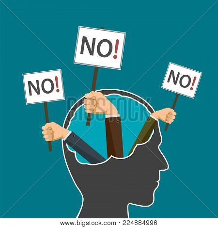 Hands Holding A Banner. Human Head With Word No. Protest And Prohibitions. Stock Vector Flat Graphic