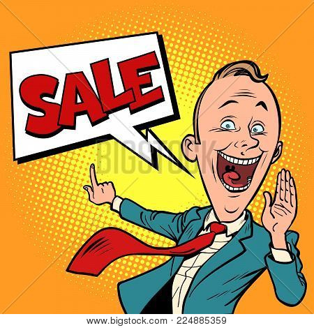 salesman businessman sale. Comic book cartoon pop art retro illustration vector
