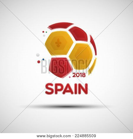 Football championship banner. Flag of Spain. Vector illustration of abstract soccer ball with Spanish national flag colors for your design