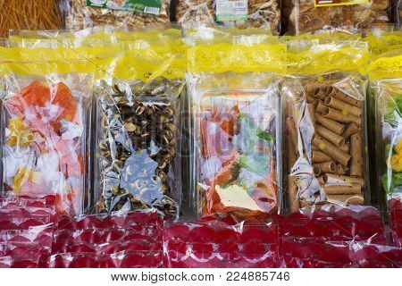 Sweets snack and Food product and gift souvenir at local shop for sale travelers people in Laem Phak Bia in Phetchaburi, Thailand