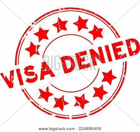 Grunge Red Visa Denied With Star Icon Round Rubber Seal Stamp On White Background