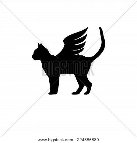 Black cat with wings. Cat with wings icon. Winged cat logo template. Vector illustration