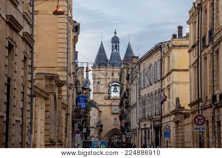BORDEAUX, FRANCE - DECEMBER 26, 2017: Porte Saint James (Saint James Gate) also known as Grosse Cloche (Big Bell) in the city center of Bordeaux. This medieval gothic gate is one of the symbols of the older part of the city