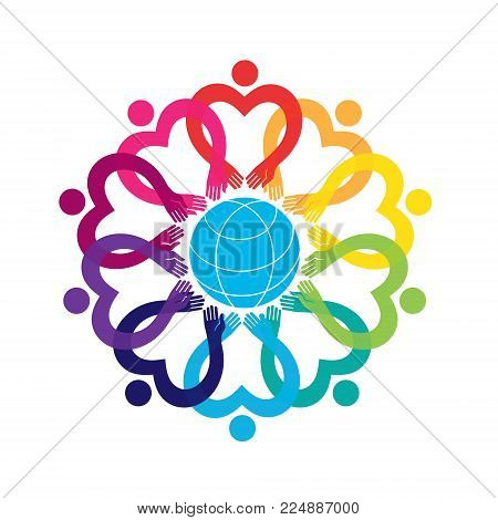 Illustration of people. Group of ten people in a circle. Vector graphic design. Hearts and dots. People in the circle. Flower ornament logo