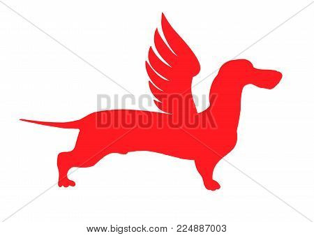 Vector stock illustration of cartoon character dog talisman, phylactery hound, mascot pooch, dachshund sticker German badger-dog angel. Winged dog. The logo symbol, the red dog