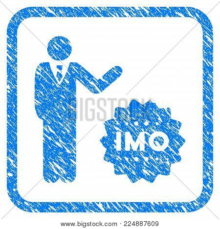 Businessman Show Imo Token grungy textured icon inside rounded frame for overlay watermark stamps. Flat symbol with dust texture.