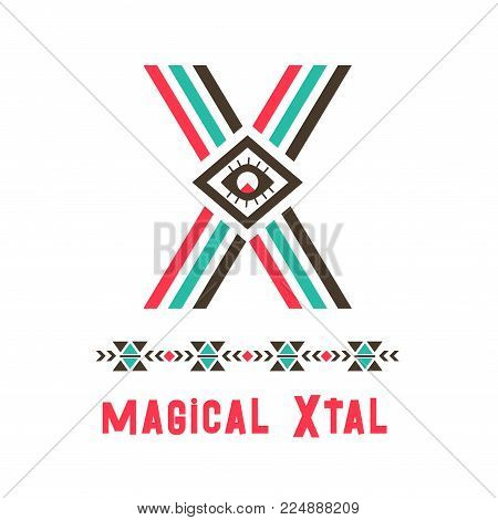 magical Xtal logo. A good place of ideal perfection, imagined community or society, name of an imaginary country, X letter in ethnic original design. Vector illustration