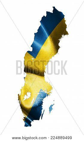 Swedish Map Isolated On White Background 3D Illustration