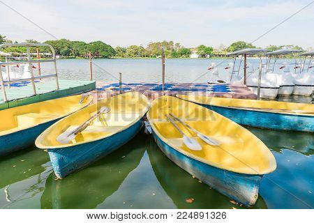 Close Up Ducks,swan Pedal Boat Floating On The Lake Against Blue Sky. Suang Luang Rama Ix Public Gar